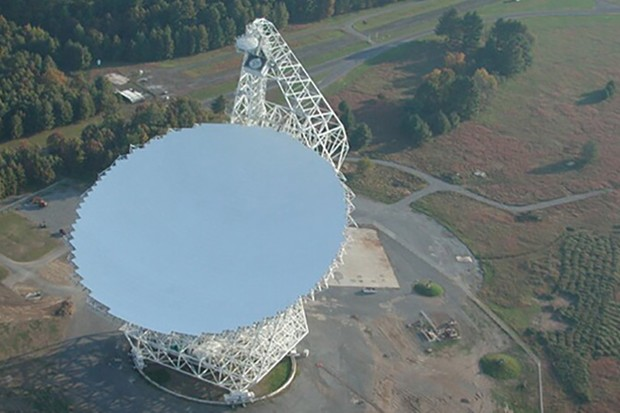 The Greenbank Telescope in West Virginia, which has detected a series of 15 new Fast Radio Bursts coming from a distant galaxy. Credit: NRAO/Green Bank Observatory