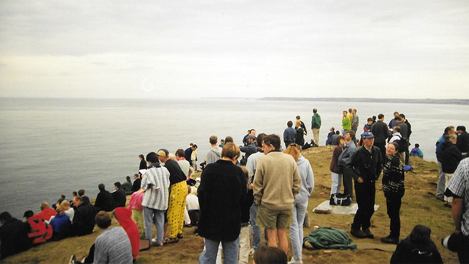 Bigbury Bay, 11 August 1999: a forlorn bunch of eclipse-chasers face the inevitableCredit: Phil Brocklebank