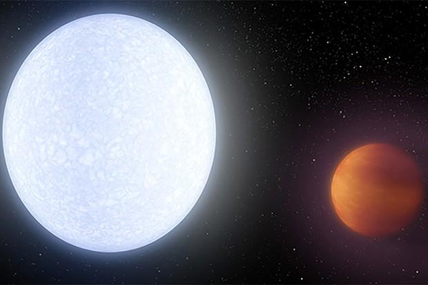 An artist's impression of hot exoplanet KELT-9b orbiting its host star. Credit: NASA/JPL-Caltech