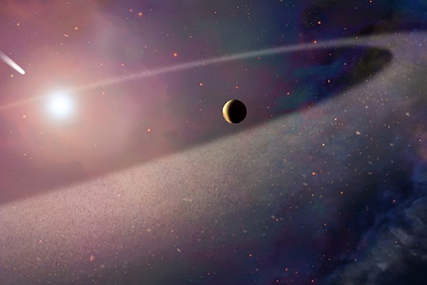 An artist's impression of a comet-like object falling towards a white dwarf Credit: NASA, ESA, and Z. Levy (STScI)