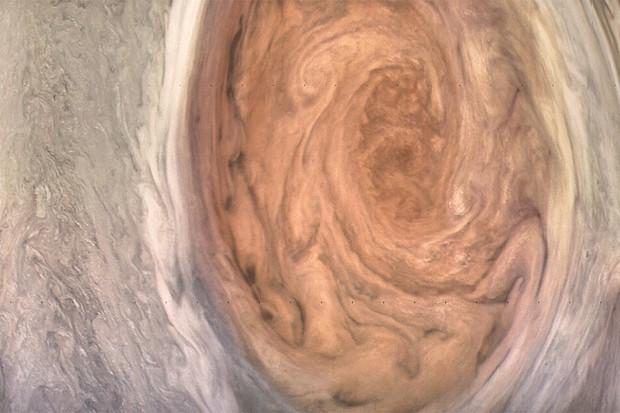 Jupiter's Great Red Spot storm, as seen by NASA's Juno spacecraft. Credits: NASA/JPL-Caltech/SwRI/MSSS/Kevin Gill