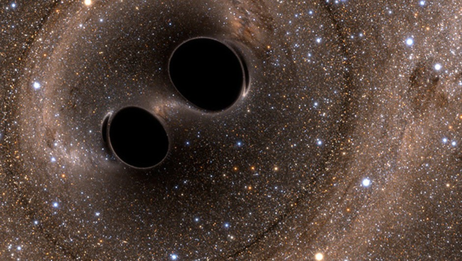 An artist's impression of two binary black holes in orbit around each other.Credit: The SXS (Simulating eXtreme Spacetimes)