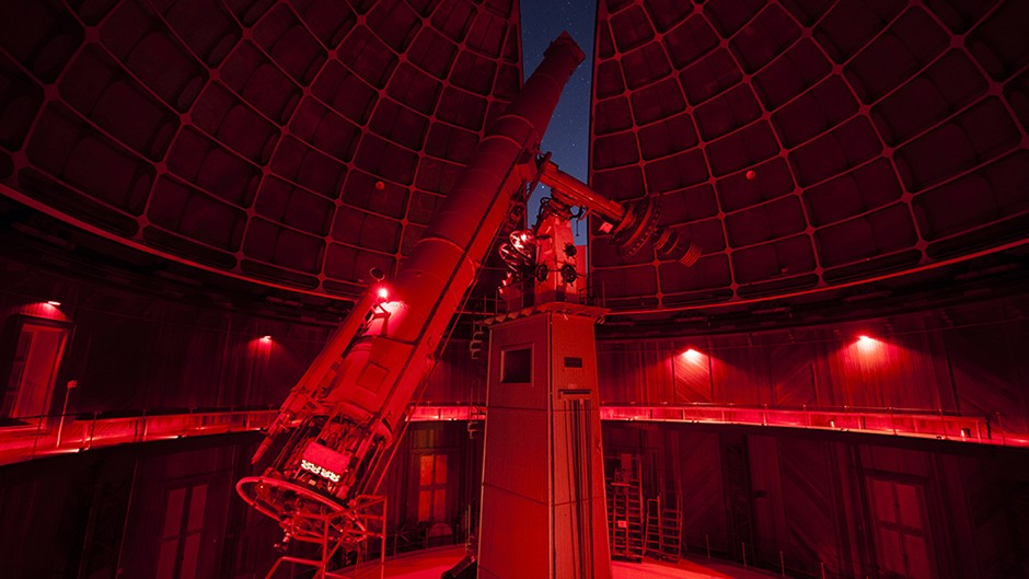 The Great Refractor in action, on one of the nights Scott and Nick looked through the eyepiece for the first time.Credit: UC Regents / Lick Observatory (Scott Lange | Nick Foster)