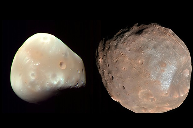 wo separate images of Deimos (left) and Phobos (right) captured by NASA's Mars Reconnaissance Orbiter Credit: NASA/JPL-caltech/University of Arizona