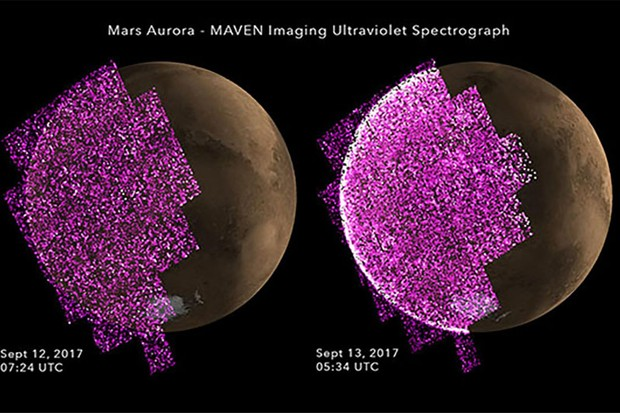 Images showing the appearance of bright aurora on Mars during a solar storm in September. The intensity of ultraviolet light is shown in purple, with the image on the left showing Mars before the event and, on the right, during the event. Image credit: NASA/Univ. of Colorado