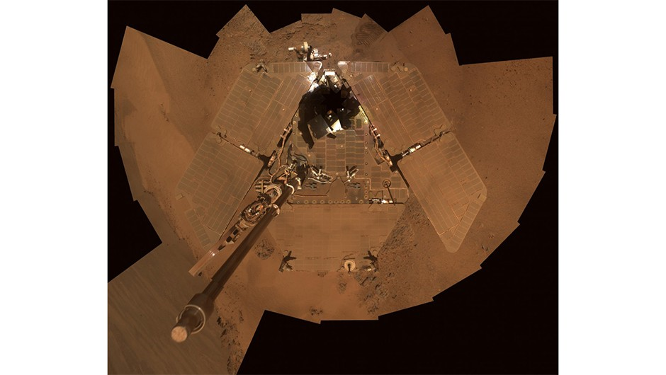 A selfie captured by the Opportunity rover, composed of different images taken between 21-24 December 2011. This view clearly shows dust accumulated on the rover's solar panels.Credit: NASA/JPL-Caltech/Cornell/Arizona State Univ.