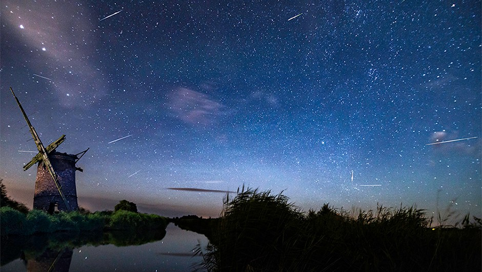 Ben Gadsby-Williams captured this image of meteors over Brograve Mill, Norfolk, UK, on 12 August 2016. Ben used a Canon EOS 6D DSLR camera and Tokina 11-16mm lens, with 20-second exposures every 20 seconds. He then stacked the images in Photoshop to pick out the frames in which he had managed to capture a meteor. Credit: Ben Gadsby-Williams