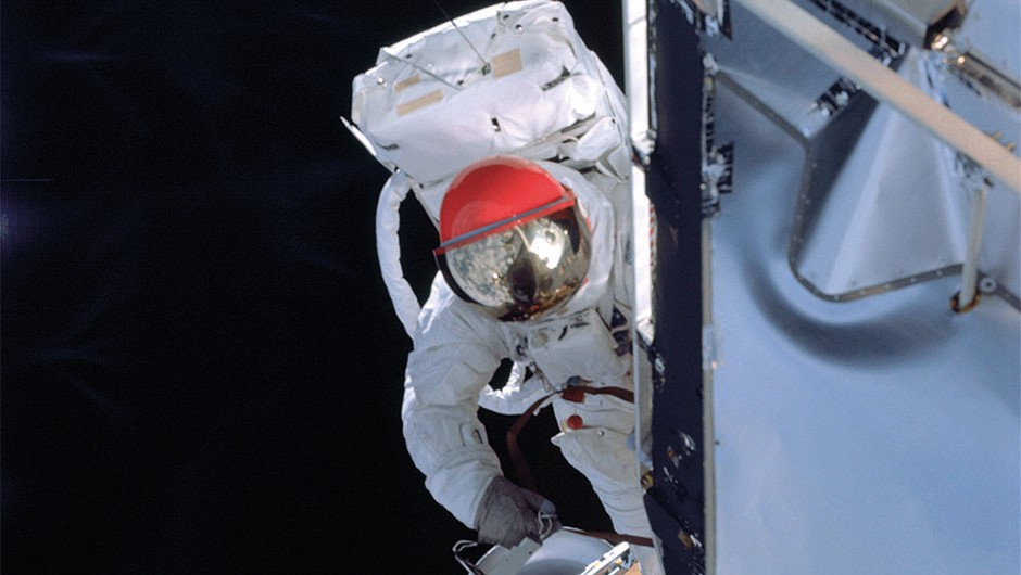 Rusty Schweickart was able to overcome his space nausea and completed a successful spacewalk.Credit: NASA