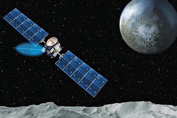 Artist's impression of the Dawn spacecraft studying Vesta and Ceres. Credit: NASA