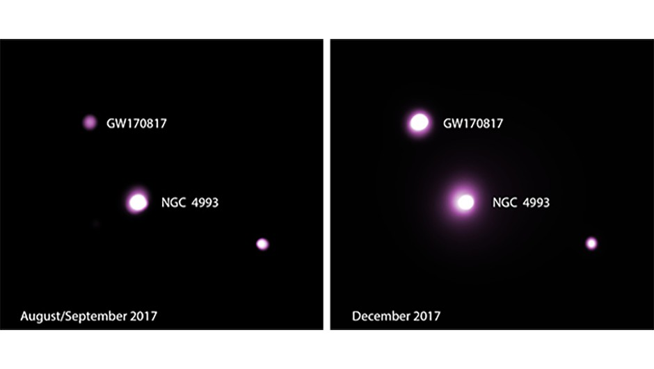 This image shows the X-ray counterpart to the gravitational wave source GW170817, produced by the merger of two neutron stars. Left shows how it appeared to the Chandra X-ray Observatory late August and early September 2017, and right, early December 2017.Credit: NASA/CXC/McGill/J.Ruan et al.