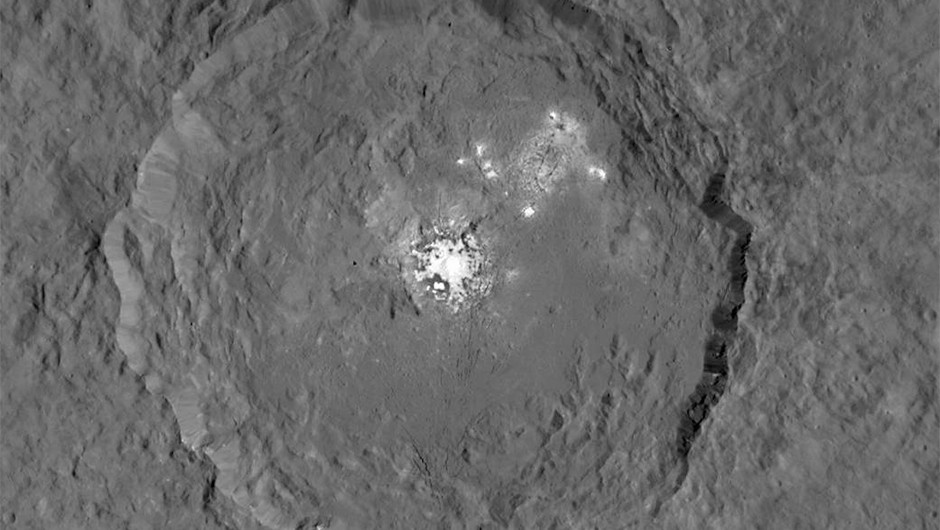An image of the Occator crater, created using images captured by Dawn.Credit: NASA/JPL-Caltech/UCLA/MPS/DLR/IDA
