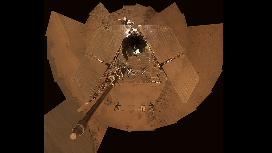 A selfie by Opportunity created using images captured 21-24 December 2011 shows dust settled on the rover's solar panels. The accumulated dust during a huge storm in 2018 may have blocked out too much sunlight, meaning the rover was unable to charge its batteries and leading NASA to call time on the mission.Credit: NASA/JPL-Caltech/Cornell/Arizona State Univ.