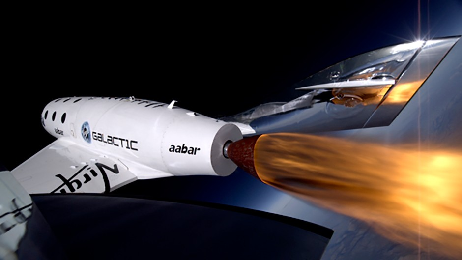 Virgin Galactic's first SpaceShipTwo during its third powered flight.
