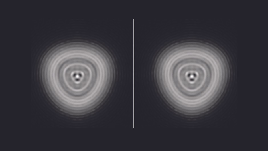 A simulated Airy disk showing pinched optics. Left shows inside focus; right shows outside focus.Credit: Steve Richards