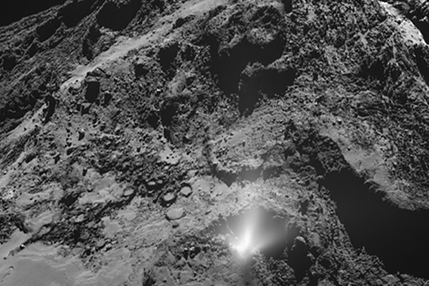 A plume of dust bursts from the Imhotep region on Comet 67P/Churyumov-Gerasimenko, 3 July 2016, captured by the Rosetta spacecraft. Credit: ESA/Rosetta/MPS for OSIRIS Team MPS/UPD/LAM/IAA/SSO/INTA/UPM/DASP/IDA