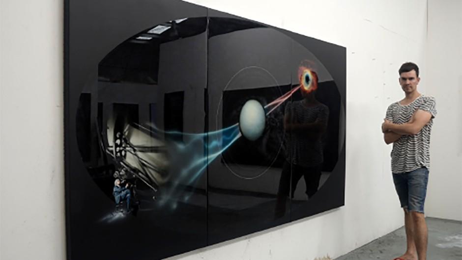 Giles Alexander and his work Eye on the Heavens: Portrait of Professor Brian Schmidt Credit: Giles Alexander