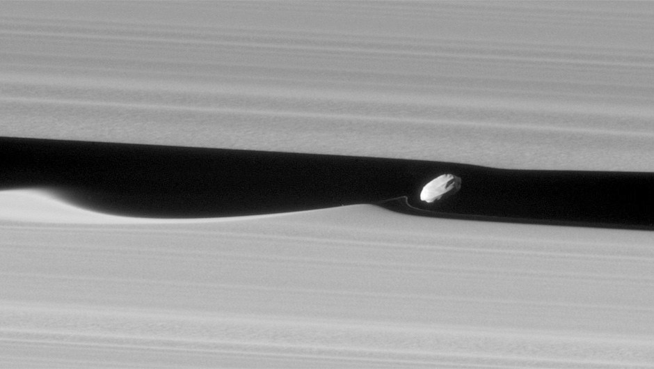 Cassini captured this image of the moon Daphnis orbiting within the 42km Keeler Gap. The waves in the edges of the gap are caused by the moon's gravitational pull.Credit: NASA/JPL-Caltech/Space Science Institute