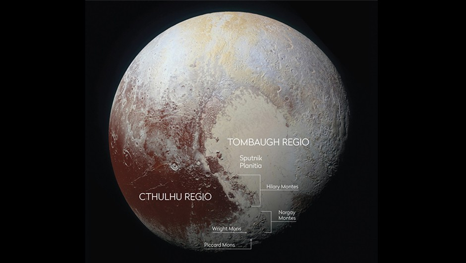 While Tombaugh Regio is named after Pluto's discoverer, Clyde Tombaugh, most of the other regions on Pluto are named after explorers, mythological creatures and figures from popular culture.Credit: NASA/JHUAPL/SwRI