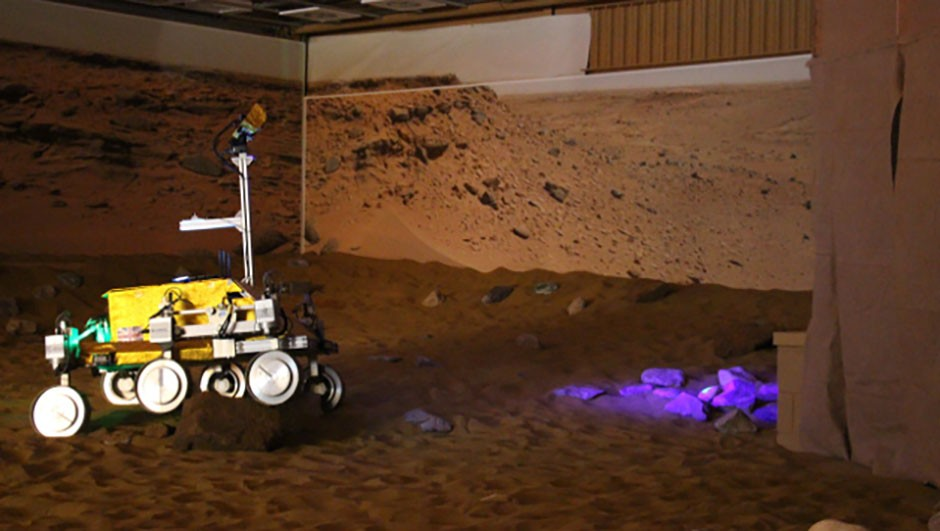 On 29 April 2016, British astronaut Tim Peake operated a 'Martian rover' in Stevenage in the UK while he was onboard the International Space Station. Techniques like these could help future astronauts build habitable bases while orbiting a planet.Credit: Elizabeth Pearson / BBC Sky at Night Magazine