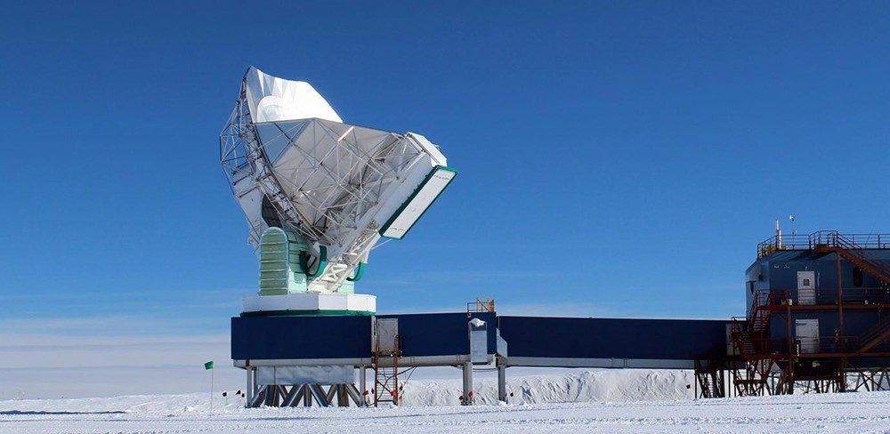 The South Pole Telescope in Antarctica is one of eight telescopes around the world that took part in the observations. Combining the observing power of multiple instruments creates a telescope array that can see deeper into the Universe.Credit: University of Arizona / Dan Marrone