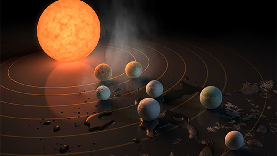 An artist's impression of the system surrounding the ultra-cool dwarf star, TRAPPIST-1. The seven orbiting planets are all similar in size to Earth. The planets that could have liquid-water are those surrounded by small water droplets, while those further out are most likely to have ice instead. Credit: NASA/JPL-Caltech