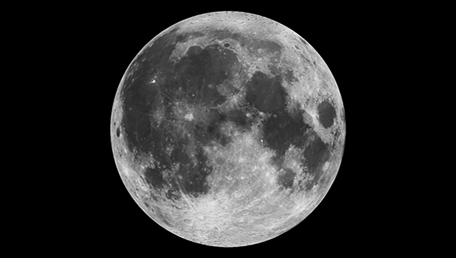This composite image of the moon using Clementine data from 1994 is the view we are most likely to see when the moon is full. 