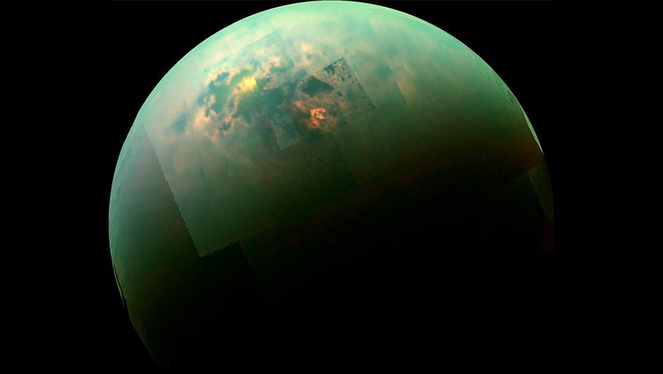 Sunlight reflects off Titan's northern seas in this image taken by the Cassini spacecraft.Credits: NASA/JPL/Univ. Arizona/Univ. Idaho