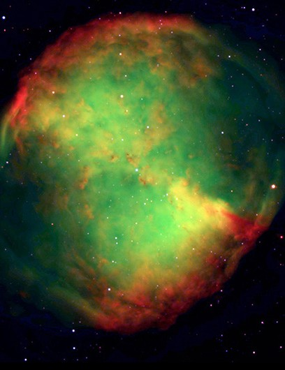 Perhaps the most famous planetary nebula: the Dumbbell Nebula. This image was also captured by the VLT, in 1998. From its shape, it is easy to see how these nebulae got their 'planetary' name. Credit: ESO