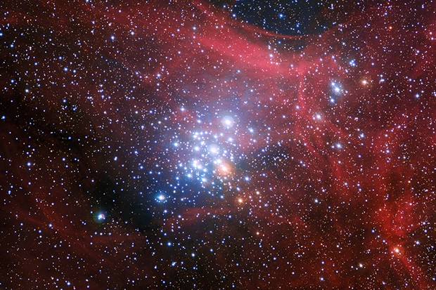 An image of star cluster NGC 3293, taken by the Wide Field Imager on the MPG/ESO 2.2-metre telescope at ESO's La Silla Observatory in Chile. Our Sun formed in a tightly-packed cluster like this, where asteroid exchange can occur between star systems. Image Credit: ESO/G. Beccari