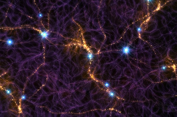 An artist's impression showing part of the cosmic web, a structure of galaxies extending across the sky. The bright blue flashes are the signals from Fast Radio Bursts. Credit: M. Weiss/CfA