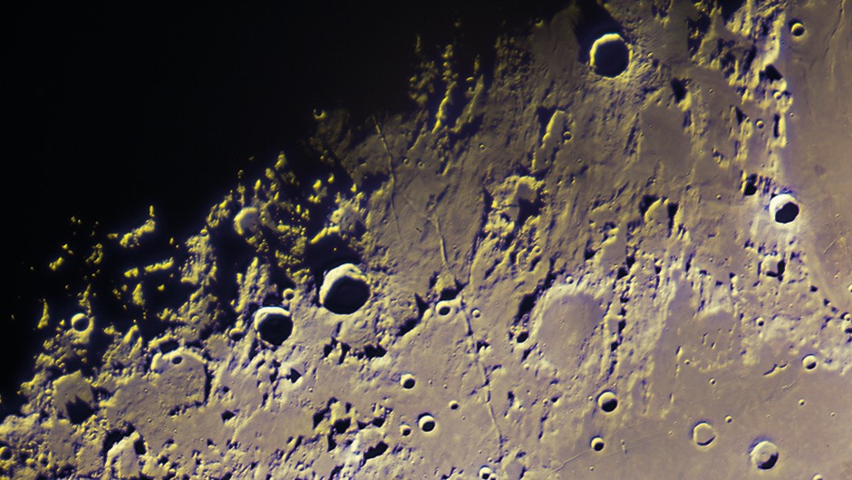 The Moon - The first quarter Moon was one of the most exciting objects to view with the Great Lick Refractor. The extreme focal length of the giant telescope brings the observer right to its surface, enabling you to see the stark depth and light contrast of the terminator.