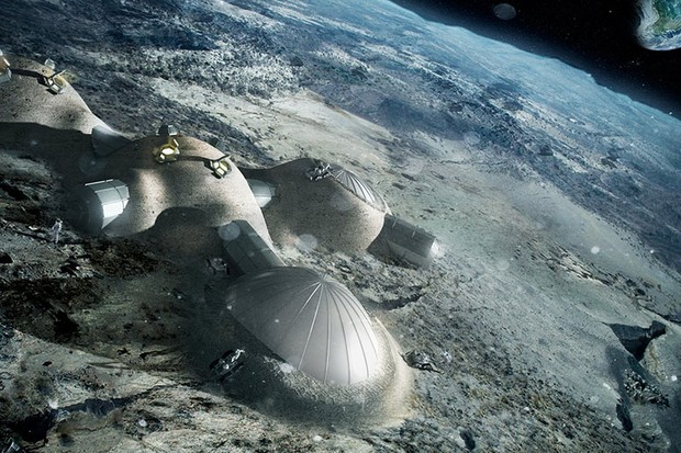 One possible 'Moon village' being considered by NASA and ESA. This is a multi-dome lunar base with inflatable domes. Copyright ESA/Foster + Partners
