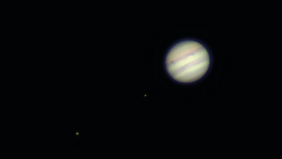 Jupiter - The brightness of Jupiter made it an easy target for the massive refractor's telephoto focal length, although the chromatic aberrations from the 129-year-old lens caused the planet to appear slightly burry.