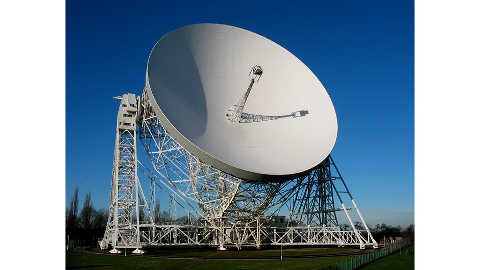 The famous Lovell telescope at Jodrell Bank is one of many comprising the Multi-Element Radio Linked Interferometer Network (MERLIN) across England. Credit: University of Manchester
