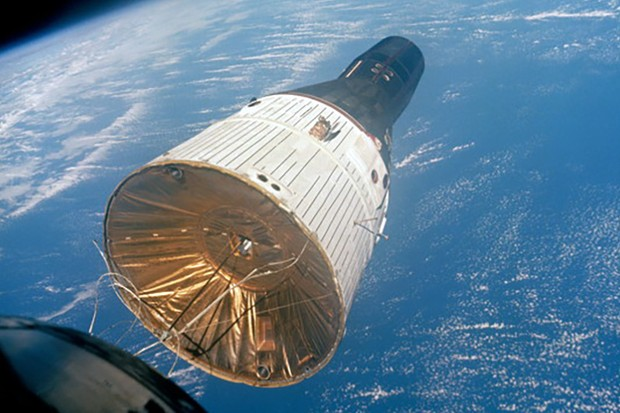 Gemini 7 taken from the window of Gemini 6 as the two performed their rendezvous. The craft were just over 11m apart when this photo was taken. Credit: Photo credit: NASA or National Aeronautics and Space Administration