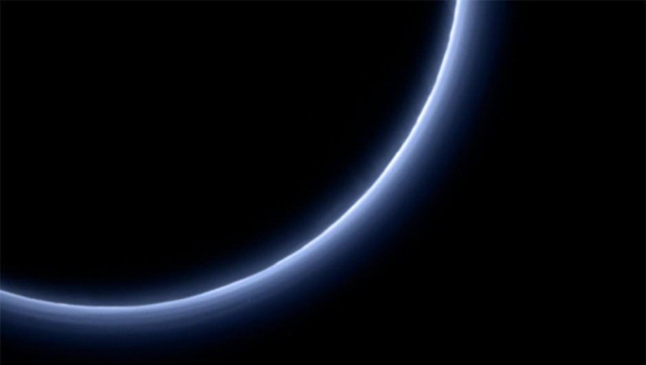 New Horizons captures the blue haze of Pluto's atmosphere as it departs the dwarf planet.Credit: NASA/JHUAPL/SwRI