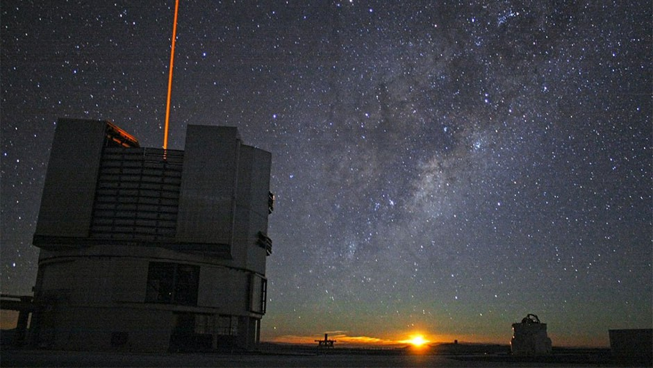 The Very Large Telescope (foreground) in Chile, the telescope used by SONYC to survey star clusters for brown dwarfs. Credit: A. Tudorica/ESO