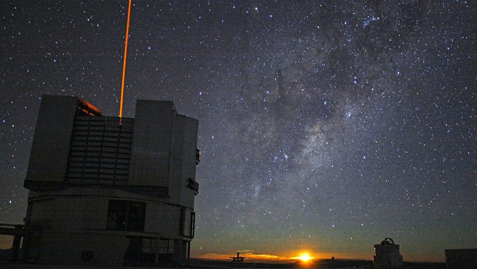 Unit Telescope 4 of the Very Large Telescope in the Chilean Atacama desert. Perfect dark skies for observing the early Universe. Credit: F. Char/ESO