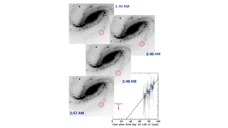 Buso's images show how the supernova grew in brightness over the evening. Credit: Víctor Buso/Melina Bersten