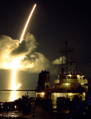 15th October 1997. Launch of Titan IVB/Centaur carrying the Cassini orbiter to Saturn. Taken from Hangar AF on Cape Canaveral Air Force Station. (Credit: NASA)