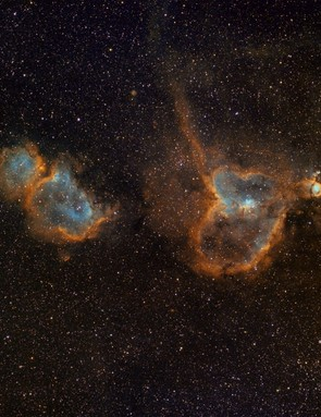 The Heart and Soul Nebulae, Keith Bramley, Lancashire, 14-22 February 2019. Equipment: Atik 383L+ mono camera, Samyang 135mm f/2 telephoto lens, Sky-Watcher EQ6 Pro mount.