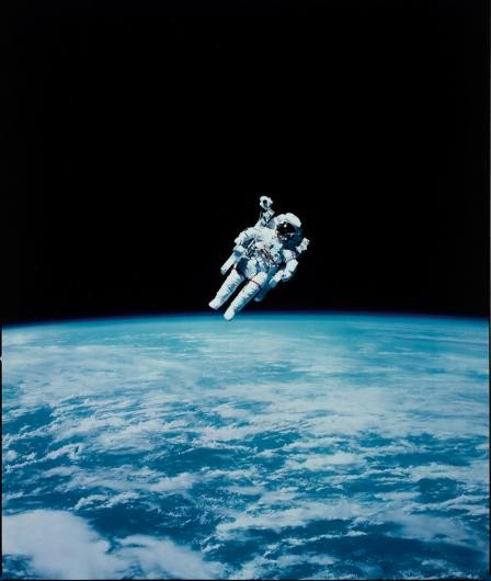 Astronaut Bruce McCandless makes the first ever untethered spacewalk with the aid of his nitrogen jet propelled backpack, February 1984.