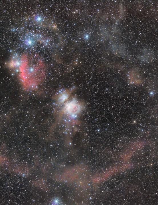 Orion widefield nebulous and dust goldmine  Ross Clark, Northumberland, 9, 10 December 2018  Equipment: Canon EOS 450Da DSLR camera, Canon EF L 70-200mm f/2.8 lens, Sky-Watcher Star Adventurer mount.