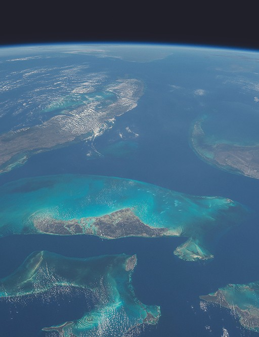 On the day I had my first video conference with my daughter Charlotte, I took this picture of the Bahamas for her. The expansiveness of the blues and greens makes the Bahamas the most easily recognizable place to see from space, as well as one of the most beautiful.