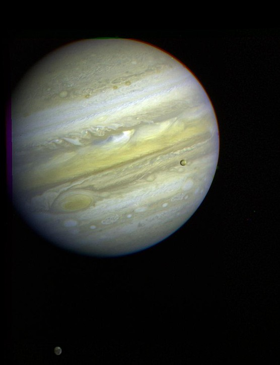 The planet Jupiter, taken by Voyager 1 at a distance of 54 million km from its closest approach. The Great Red Spot dominates the picture and swirling, storm-like features are visible above and to the left of the Spot, showing the turbulent atmosphere. (Credit: NASA/JPL)