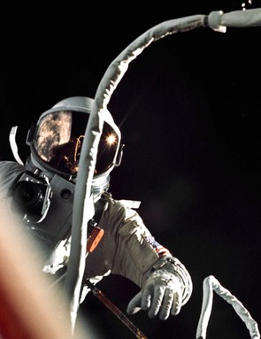 Gemini IXA pilot Eugene Cernan pictured during his two hour, eight minute spacewalk, 5 June 1966. (NASA/Tom Stafford)