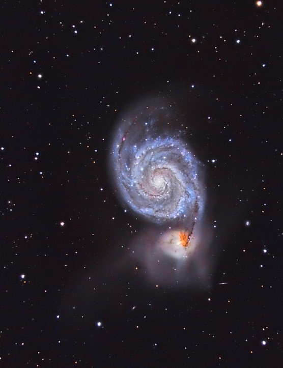 Whirlpool Galaxy, David Attie, Abu Dhabi, UAE, 9 April 2016. Equipment: Moravian G2-4000 CCD camera, Celestron C11-A XLT Schmidt-Cassegrain, Sky-Watcher AZ-EQ6 GT mount.