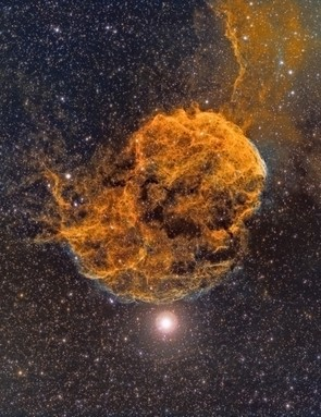 The Jellyfish Nebula Martin Baker, 25 November 2017 & 18 January 2018, Berkshire Equipment: Trius SX694 CCD camera, William Optics Megrez 72mm doublet apo refractor, Sky-Watcher NEQ6 Pro SynScan mount.