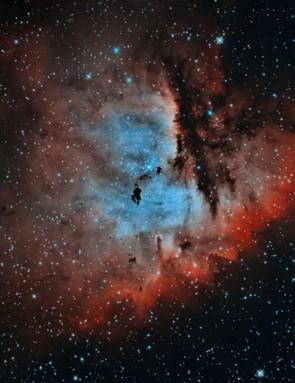 NGC 281  Steve Pastor, New Mexico, US, 16 November, 13, 15 December 2017; 3 October, 5, 6, 10 November 2018.  Equipment: QSI683wsg mono CCD camera, Takahashi CCA-250 corrected Cassegrain astrograph, Paramount ME mount.