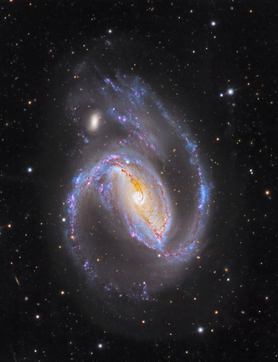 NGC 1097, Warren Keller, Star Shadows Remote Observatory South, Chile, July 2016. Equipment: Apogee Alta U9 CCD camera, RCOS 16-inch Ritchey-Chrétien, PlaneWave Ascension 200HR mount.